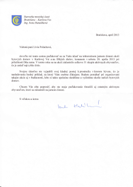 poďakovanie sme dostali aj z MÚ Karlova Ves