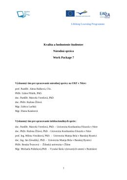 IBAR – WP 5 – SK - Univerzita Konštantína Filozofa v Nitre
