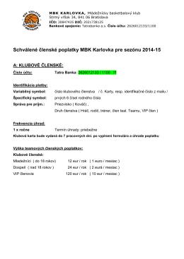 Členské príspevky v MBK Karlovka 2014