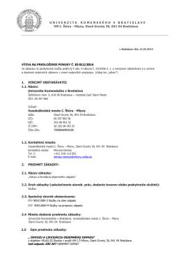 Výzva - Univerzita Komenského