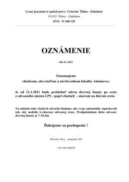 Oznámenie o odvoze dreva z lokality Adamovec