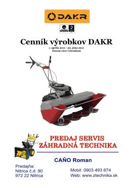 Cenník DAKR EURO SK 2011