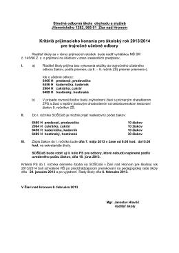 Kritériá prijímacieho konania pre školský rok 2013/2014