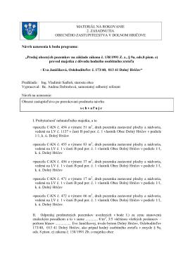 Návrh uznesenia - odpredaj pozemkov p. Janičíkovej