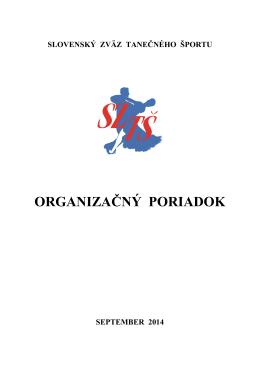 Organizačný poriadok SZTŠ - Slovenský Zväz Tanečného Športu