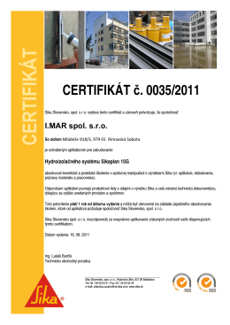 Certifikát SIKA - Obnova bytových domov