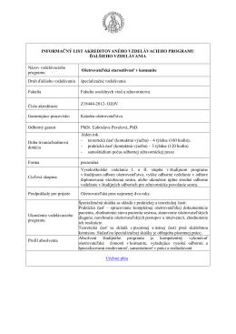 Infolist špecializačného štúdia OSvK