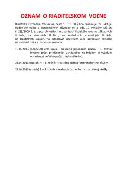 OZNAM O RIADITEĽSKOM VOĽNE - Gymnázium, Varšavská cesta 1