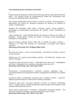 Témy bakalárskych prác 2014/2015 [.pdf]