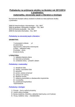 Požiadavky na prijímacie skúšky na školský rok 2013/2014 z