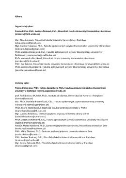 Mgr. Ľubica Hulajová, PhD., Fakulta aplikovaných
