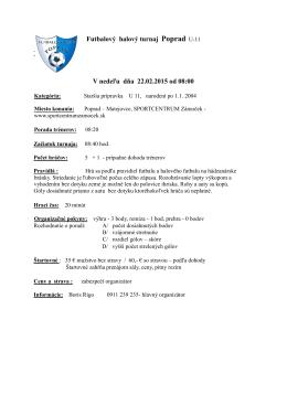 Rozpis zápasov futbalového turnaja