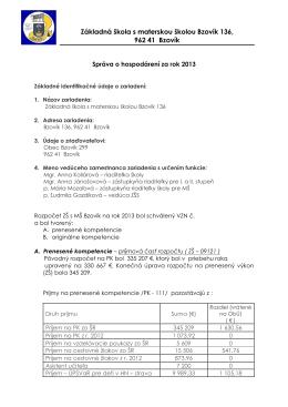 Záverečný účet ZŠ s MŠ za rok 2013