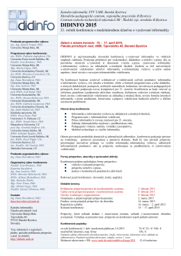 Call for papers DIDINFO 2015 - Ročník 2015