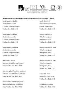 H3ZO Seznam sbírek - škůdci LS 13-14
