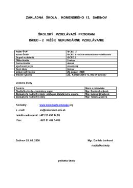 na stiahnutie .pdf - Základná škola, Komenského 13, Sabinov
