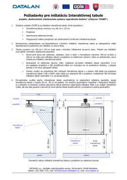 Požiadavky pre inštaláciu Interaktívnej tabule