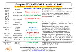 program na február 2015 - Materské centrum Mami