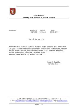 Obec Dubová Obecný úrad, Hlavná 39, 900 90 Dubová