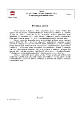 Návrh na schválenie Zmien a doplnkov 2010 Územného plánu