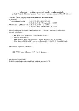 Informácia o výsledku vyhodnotenia ponúk a poradie
