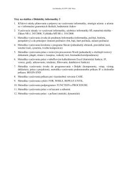 Tézy na skúšku z Didaktiky informatiky 2 1. Kľúčové otázky