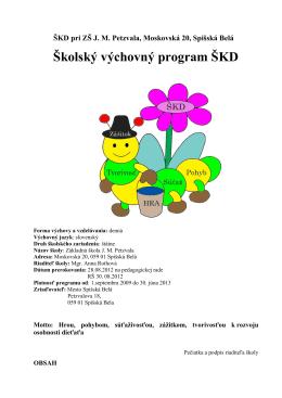 Školský výchovný program ŠKD - Základná škola JM Petzvala