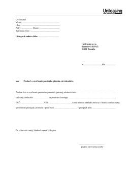 Žiadosť o uvoľnenie poistného plnenia
