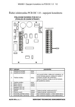 Řídící elektronika PCB DC 1.0 - zapojení konektoru