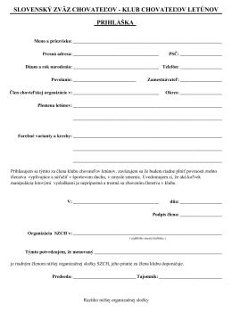 Prihláška do klubu - Klub chovateľov letúnov a tipplerov