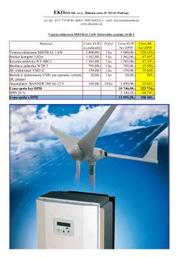 Material Cena EUR za jednotku Počeť Cena EUR bez