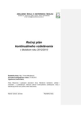 Ročný plán kontinuálneho vzdelávania