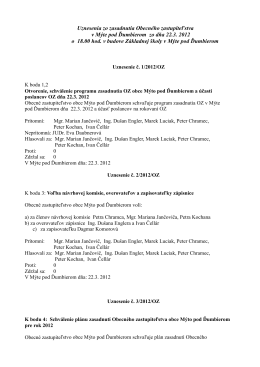Uznesenia zo zasadnutia Obecného zastupiteľstva v Mýte pod