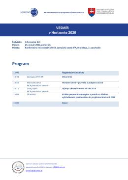 Program podujatia - Horizont 2020 - Centrum vedecko