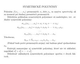 6. Symetrické polynómy