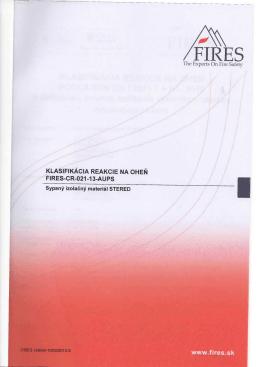 Klasifikácia reakcie na oheň FIRES-CR-021-13-AUPS001
