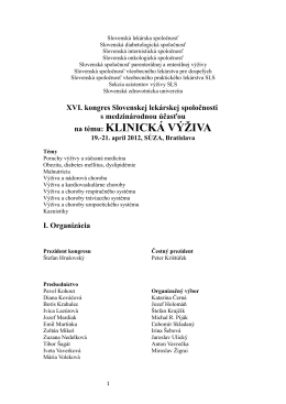 na tému: KLINICKÁ VÝŽIVA - Slovenská lekárska spoločnosť