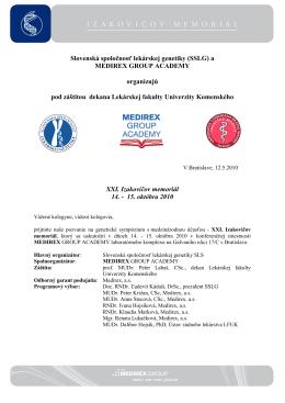 Slovenská spoločnosť lekárskej genetiky (SSLG) a MEDIREX