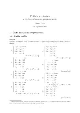 Príklady k cvičeniam z predmetu Lineárne programovanie