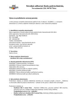 1 - Stredná odborná škola polytechnická, Dvorčianska 629, Nitra