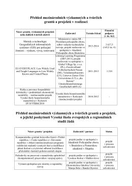 Mezinárodní projekty a granty