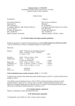 Nájomná zmluva č. 2/15/K/2011 na krátkodobý prenájom