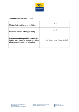 Sadzobník DSS platný od 1.1.2015 Platba v hotovosti šekovou