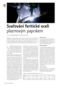 Svařování feritické oceli plazmovým paprskem