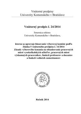 Vnútorný predpis č. 24/2014
