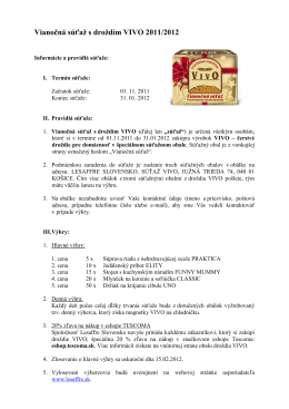 Vianočná súťaž s droždím VIVO 2011/2012