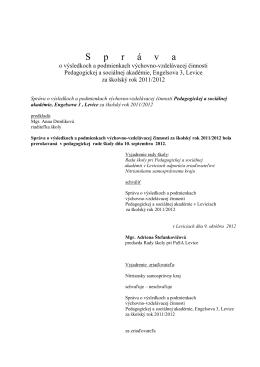 Vyhodnocovacia správa za rok 2011-2012
