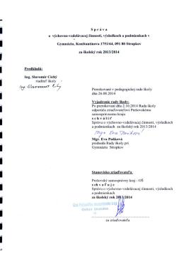 Správa o v-v činnosti za rok 2013-2014