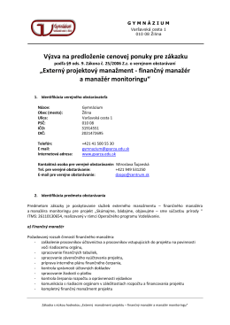 Externý projektový manažment - Gymnázium, Varšavská cesta 1