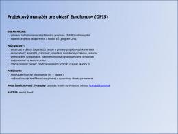 Projektový manažér pre oblasť Eurofondov (OPIS)